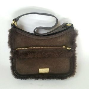 UGG Brown Sheepskin Suede Small Purse Bag